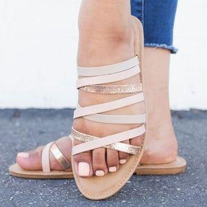 NEW Open Toe Strappy Slides Flat Sandal Flip Flops